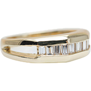 Vintage Diamond & Gold Band Baguette Cut Diamond Ring Vintage Mens Wedding Band Yellow Gold Ring Split Band Ring