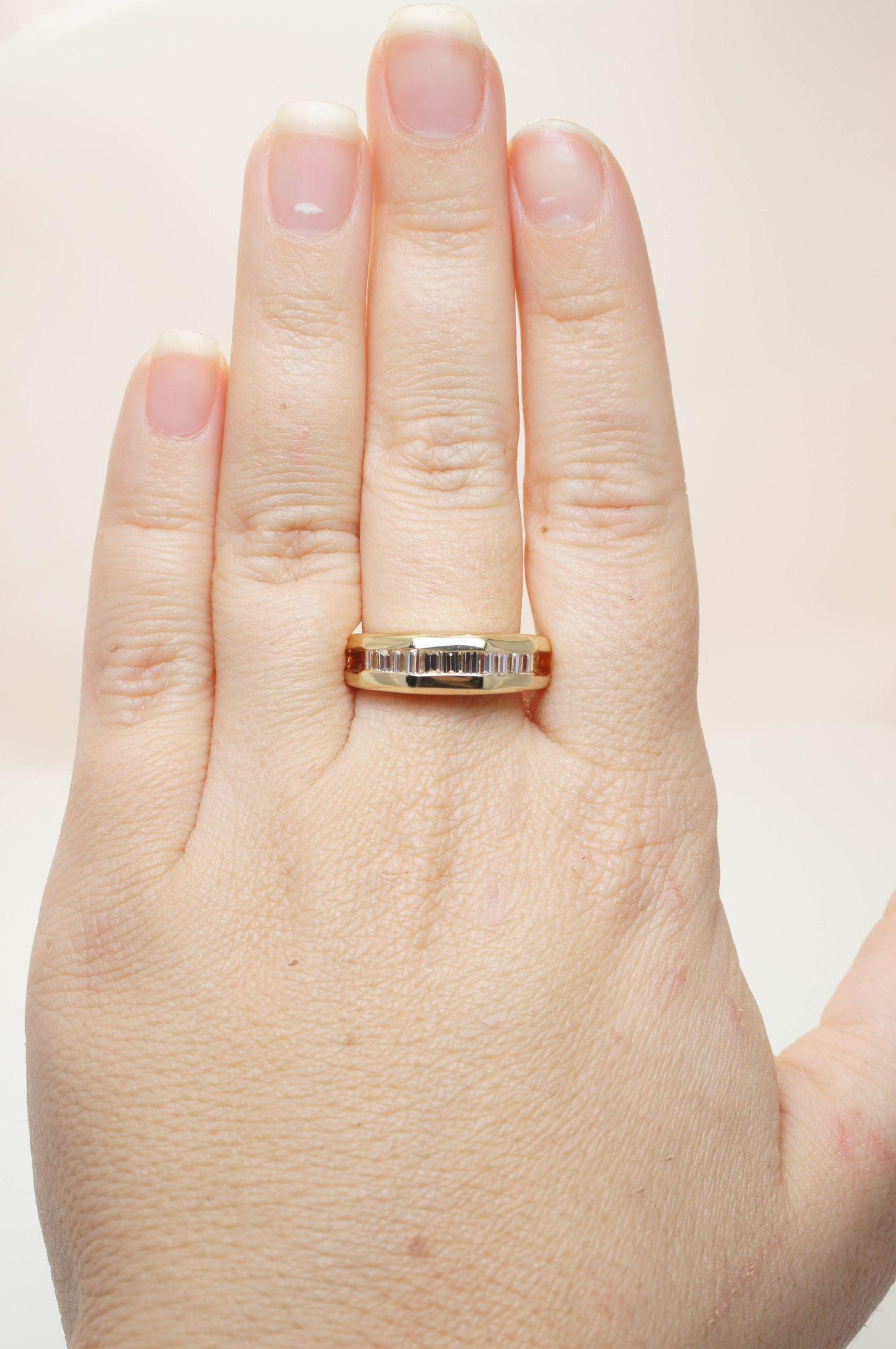 vintage diamond gold band baguette cut diamond ring vintage mens