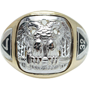 Mens Enamel & Gold Masonic 32nd Degree Ring