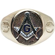 Vintage Mens 10k Yellow Gold Masonic Ring