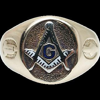 Vintage Mens 10k Yellow Gold Masonic Ring