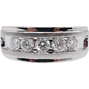 Vintage Mens 1CTW 5 Stone Diamond Wedding Band Ring 10k White Gold