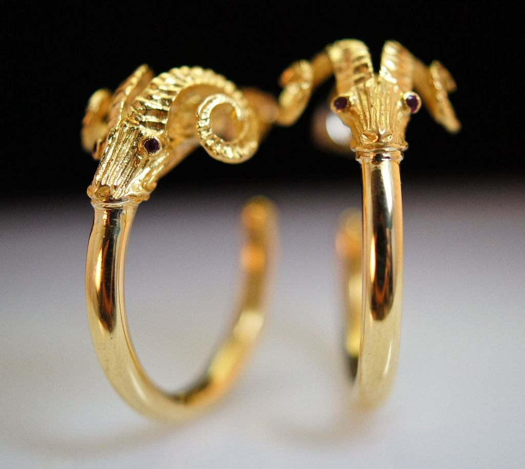 'Aries' Earrings,	 18K yellow gold and Ruby Eye Hook Earrings