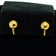 Vintage 18k Yellow Gold Half Dome Earrings - Screw Pinch Post