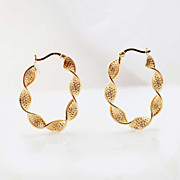 Vintage 14k Yellow Gold Twist Hoop Earrings