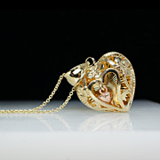 14k Yellow & Rose Gold Floral Heart in Heart Pendant