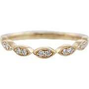 Delicate .11CTW Natural Diamond Stackable Band 14k Yellow Gold