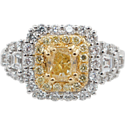 Natural 1.99CTW Fancy Yellow Diamond Double Halo Engagement Ring 18k White & Yellow Gold