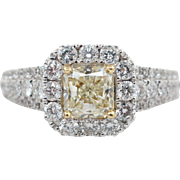 1.49CTW Natural Fancy Yellow Radiant Cut Diamond Halo Engagement Ring 18k White Gold