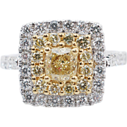 1.55CTW Fancy Yellow Cushion Cut Double Halo Diamond Engagement Ring 18k White Gold