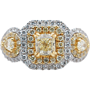 1.66CTW Fancy Yellow Radiant Cut Double Halo Diamond 3 Stone Engagement Ring 18k White Gold