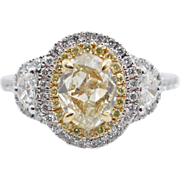 1.81CTW Fancy Yellow Oval Cut Diamond Double Halo 3 Stone Engagement Ring 18k White Gold