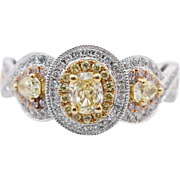 1.13CTW Fancy Yellow Oval Cut & Pear Shape Diamond 3 Stone Engagement Ring 14k White, Yellow, & Rose Gold