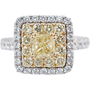 2.15CTW Fancy Yellow Cushion Cut Double Halo Diamond Engagement Ring 18k White Gold