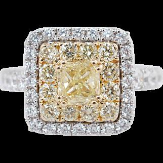 2.15CTW Fancy Yellow Cushion Cut Double Halo Diamond Engagement Ring 18k White Gold