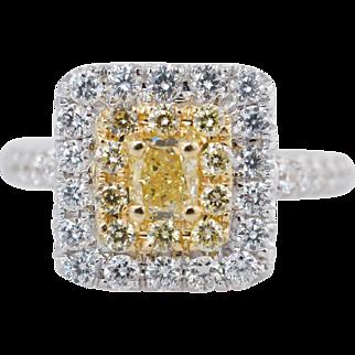 1.16CTW Fancy Yellow Cushion Cut Diamond Double Halo Engagement Ring 18k White Gold