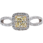 .93CTW Fancy Yellow Radiant Cut Diamond Halo Engagement Ring 18k White Gold Bow Ring