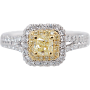 .85CTW Fancy Yellow Cushion Cut Double Halo Diamond Engagement Ring 18k White Gold