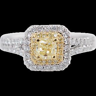 .85CTW Fancy Yellow Cushion Cut Double Halo Diamond Engagement Ring 18k White Gold