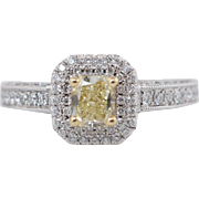 1.14CTW Fancy Yellow Radiant Cut Diamond Engagement Ring 18k White Gold