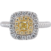0.63CTW Fancy Yellow Cushion Cut Double Halo Diamond Engagement Ring 18k White Gold