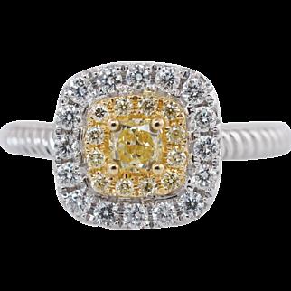 0.63CTW Fancy Yellow Cushion Cut Double Halo Diamond Engagement Ring 18k White Gold