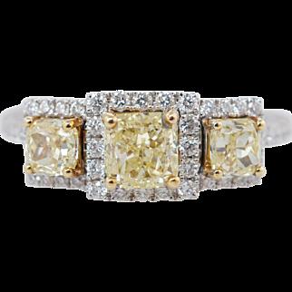 1.38CTW Fancy Yellow Cushion Cut Diamond 3 Stone Engagement Ring 18k White Gold