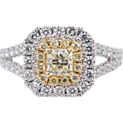 1.31CTW Fancy Yellow Radiant Cut Double Halo Split Shank Engagement Ring 18k White Gold
