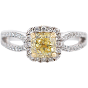1.45CTW Fancy Yellow Cushion Cut Diamond Bow Engagement Ring 18k White Gold