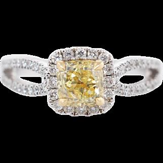 1.45CTW Fancy Yellow Cushion Cut Diamond Bow Engagement Ring 18k White Gold
