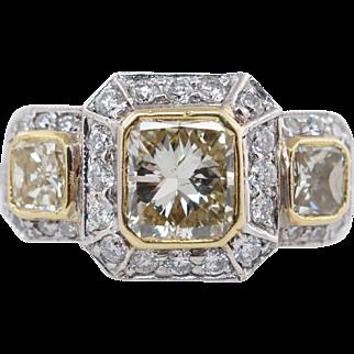 2.07CTW Fancy Yellow Radiant Cut 3 Stone Diamond Halo Engagement Ring 18k White Gold