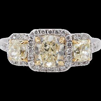 2.33CTW Fancy Yellow Cushion Cut Yellow Diamond 3 Stone Engagement Ring 18k White Gold