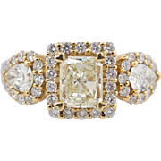 2.49CTW Fancy Yellow Radiant Cut & Pear Shape Diamond 3 Stone Engagement Ring 18k Yellow & White Gold