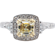 1.59CTW Fancy Yellow Asscher Cut Natural Diamond Halo Engagement Ring 18k White Gold