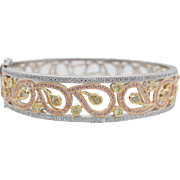 2.38CTW Pink, Yellow, & Colorless Diamond Paisley Bangle Band 18k White, Rose, & Yellow Gold