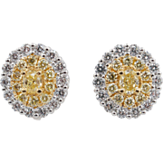 1.30CTW Natural Fancy Yellow Oval Diamond Double Halo Stud Earrings 18k White & Yellow Gold