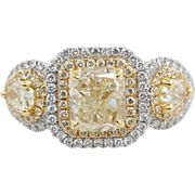 2.59CTW Fancy Yellow Princess & Pear Shape 3 Stone Diamond Engagement Ring 18k White & Yellow Gold