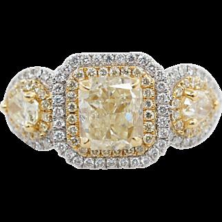 2.59CTW Fancy Yellow Princess & Pear Shape 3 Stone Diamond Engagement Ring 18k White & Yellow Gold
