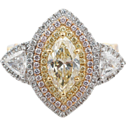 2.36CTW Natural Fancy Yellow Marquise Cut Diamond 3 Stone Ring with White, Yellow, & Rose Gold