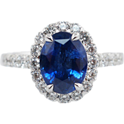 3.23CTW Natural Sapphire Oval Cut Diamond Halo Engagement Ring 18k White Gold