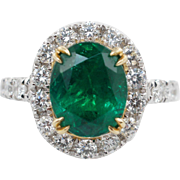 4.34CTW Natural Emerald & Diamond Halo Cocktail Ring 18k White Gold