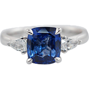 Platinum 2.49CTW Natural GIA Blue Sapphire & Pear Shape Diamond Engagement Ring