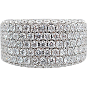 2.01CTW Natural Diamond Statement Band Ring 14k White Gold
