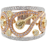 1.14CTW Diamond Open Paisley Fancy Yellow, Pink, & Colorless Diamond Band Ring