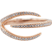 .16CTW Natural Diamond Open 3 Level Delicate Band 14k Rose Gold