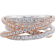 .95CTW Criss Cross Diamond Band 14k Rose & White Gold