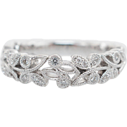 Orante .16CTW Natural Diamond Leaf Band 14k White Gold