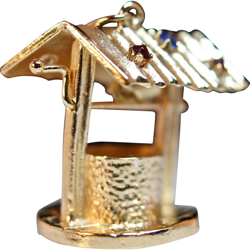 Vintage 14k Yellow Gold Wishing Well Charm with Single Cut Glasses