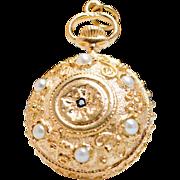 Vintage Cultured Pearl & Sapphire Watch Motif Pendant