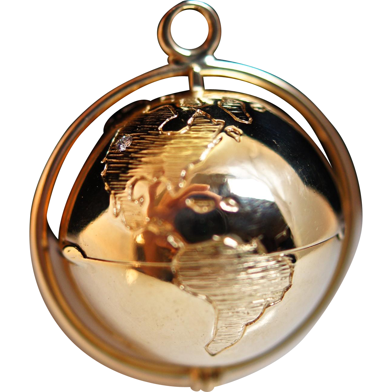 14k Yellow Gold and Diamond Flip Globe Pendant